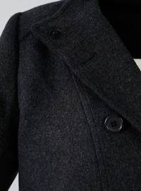 Anthracite - Fully Lined - Shawl Collar - Acrylic - - Coat