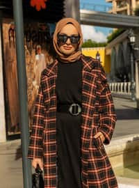 Black - Orange - Plaid - Fully Lined - Shawl Collar - Acrylic - Coat