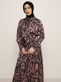 Pink - Black - Point Collar - Unlined - Dress