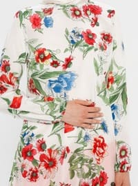 White - Fuchsia - Floral - Crew neck - Tunic