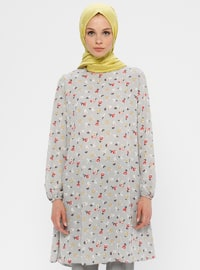 Gray - Red - Floral - Crew neck - Tunic