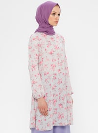 Gray - Pink - Floral - Crew neck - Tunic
