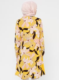 White - Mustard - Floral - Crew neck - Tunic