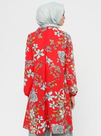 Red - Mint - Floral - Crew neck - Tunic