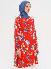 Red - Yellow - Floral - Crew neck - Tunic