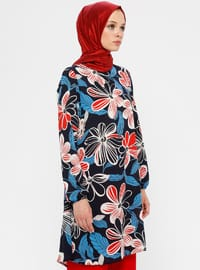 Red - Navy Blue - Floral - Crew neck - Tunic