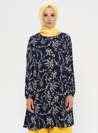 Navy Blue - Pink - Floral - Crew neck - Tunic