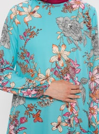 Mint - Pink - Floral - Crew neck - Tunic