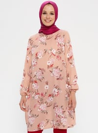 Pink - Powder - Floral - Crew neck - Tunic