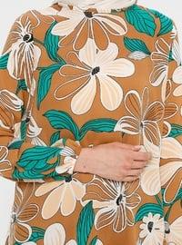 White - Tan - Floral - Crew neck - Tunic