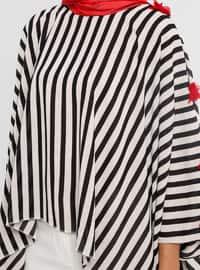 Black - Stripe - Button Collar - Unlined - Poncho