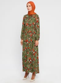 Green - Multi - Crew neck - Unlined - Viscose - Dress