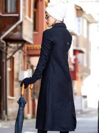 Black - Unlined - V neck Collar - Coat