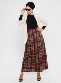 Red - Plaid - Unlined - Skirt