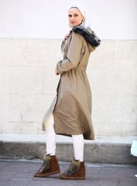Cream - Fully Lined -  - Plus Size Overcoat
