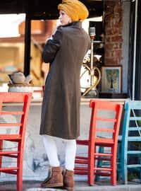 Khaki - Fully Lined - Polo neck - Viscose - Coat