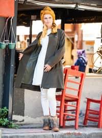 Khaki - Fully Lined - Crew neck - Wool Blend - Coat