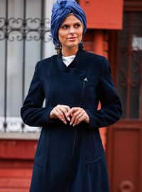 Navy Blue - Fully Lined - Crew neck - Wool Blend - Coat