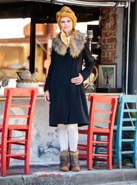 Black - Fully Lined - V neck Collar - Viscose - Coat