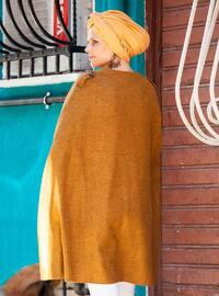 Mustard - Crew neck - Unlined - Acrylic - Poncho