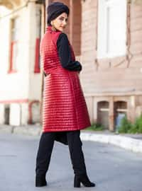 Red - Fully Lined - Polo neck - Coat