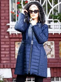 Navy Blue - Fully Lined - Plus Size Overcoat