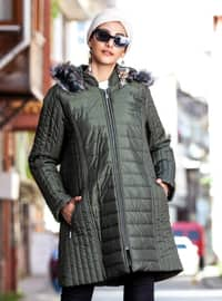 Green - Fully Lined - Plus Size Overcoat