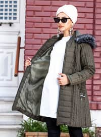 Green - Fully Lined - Crew neck - Coat