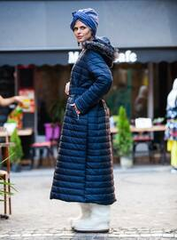 Navy Blue - Fully Lined - Crew neck - Plus Size Coat