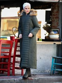 Green - Fully Lined - Crew neck - Plus Size Coat