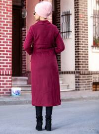 Maroon - Fully Lined - Button Collar - Coat