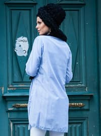 Blue - Stripe - Point Collar - Viscose - Tunic