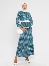 Green - Emerald - Polka Dot - Crew neck - Unlined - Viscose - Dress