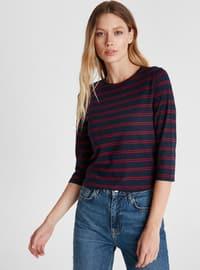Stripe - Crew neck - Red - T-Shirt