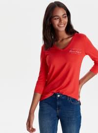 V neck Collar - Red - T-Shirt