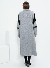Gray - Black - Point Collar - Acrylic -  - Plus Size Cardigan