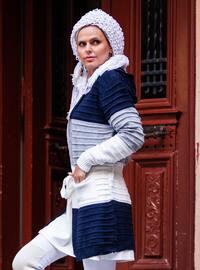 Navy Blue - Acrylic -  - Wool Blend - Cardigan