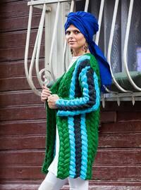 Blue - Green - Acrylic -  - Cardigan