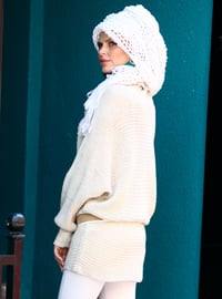 Cream - Polo neck - Acrylic -  -  - Tunic