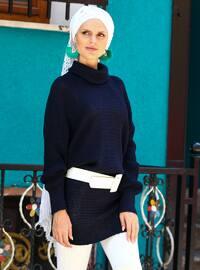 Navy Blue - Polo neck - Acrylic -  -  - Tunic