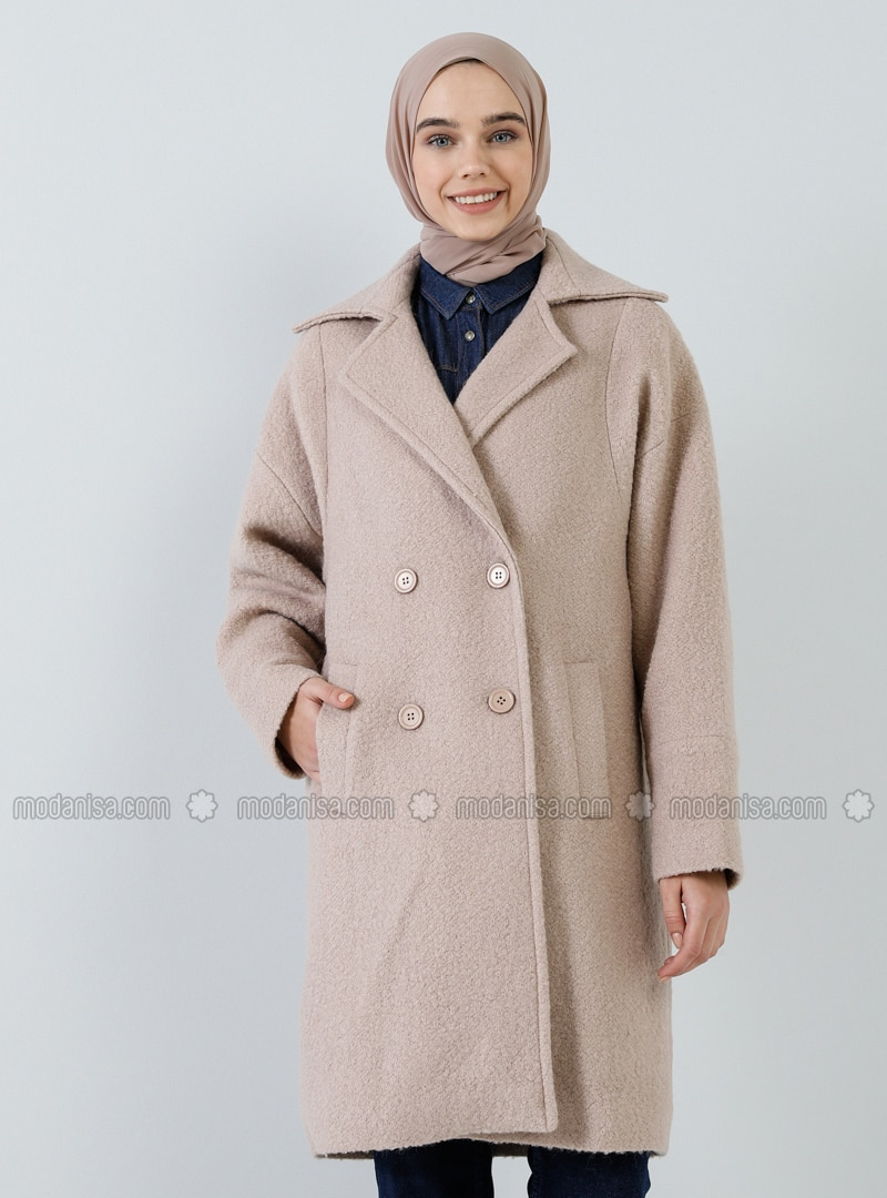 Camel - Fully Lined - Shawl Collar - Wool Blend - Coat