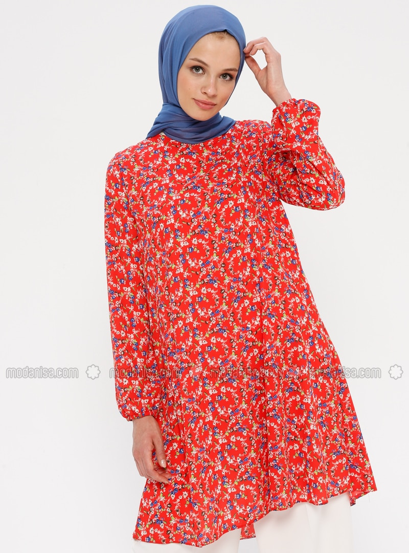 Red - Blue - Floral - Crew neck - Tunic