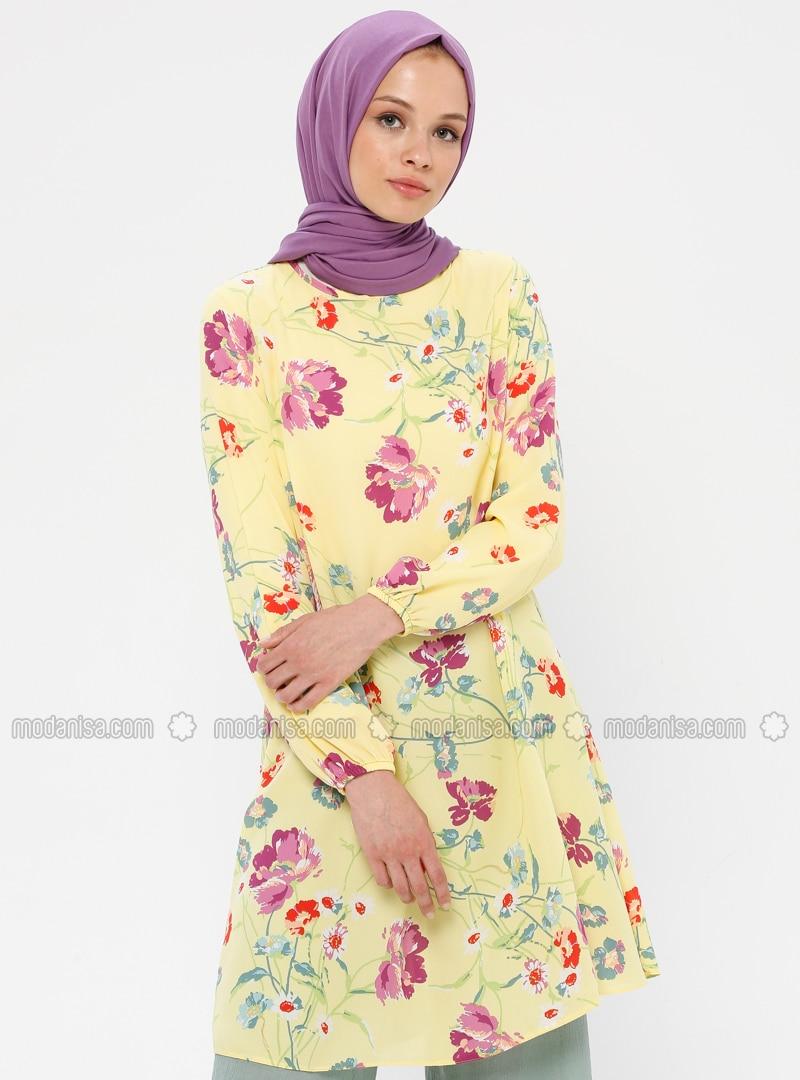 Purple - Yellow - Floral - Crew neck - Tunic