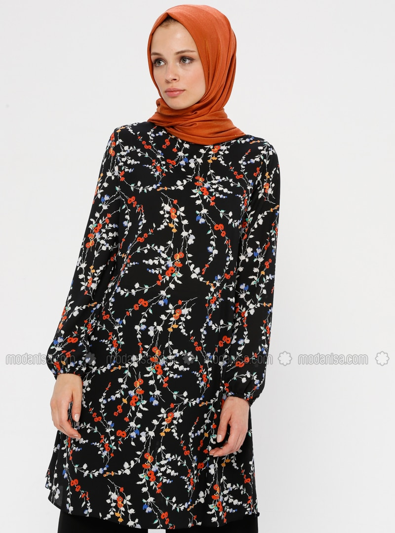 Black - Orange - Floral - Crew neck - Tunic