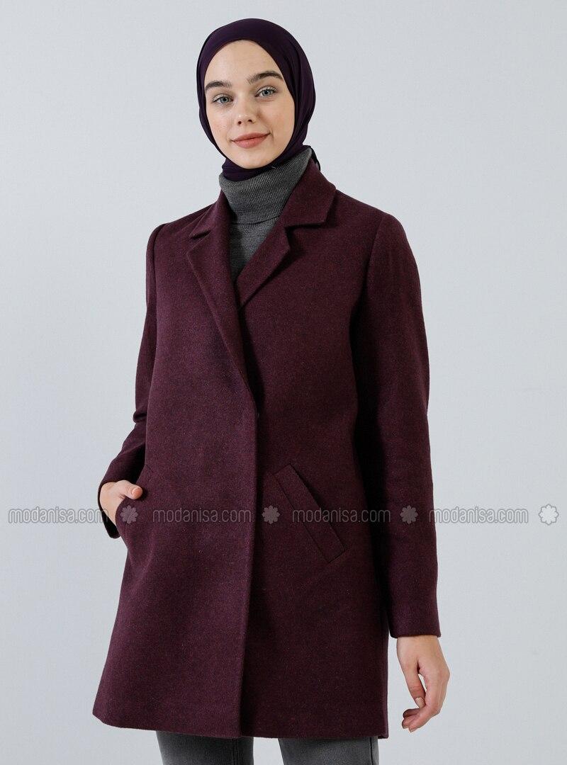 Plum - Fully Lined - Shawl Collar - Acrylic - - Coat