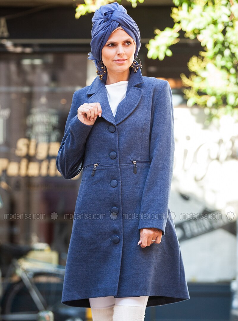 Indigo - Fully Lined - Shawl Collar - V neck Collar - Viscose - Coat