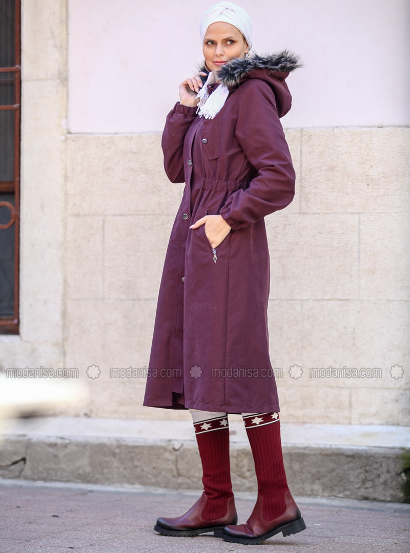 Maroon - Fully Lined -  - Plus Size Overcoat