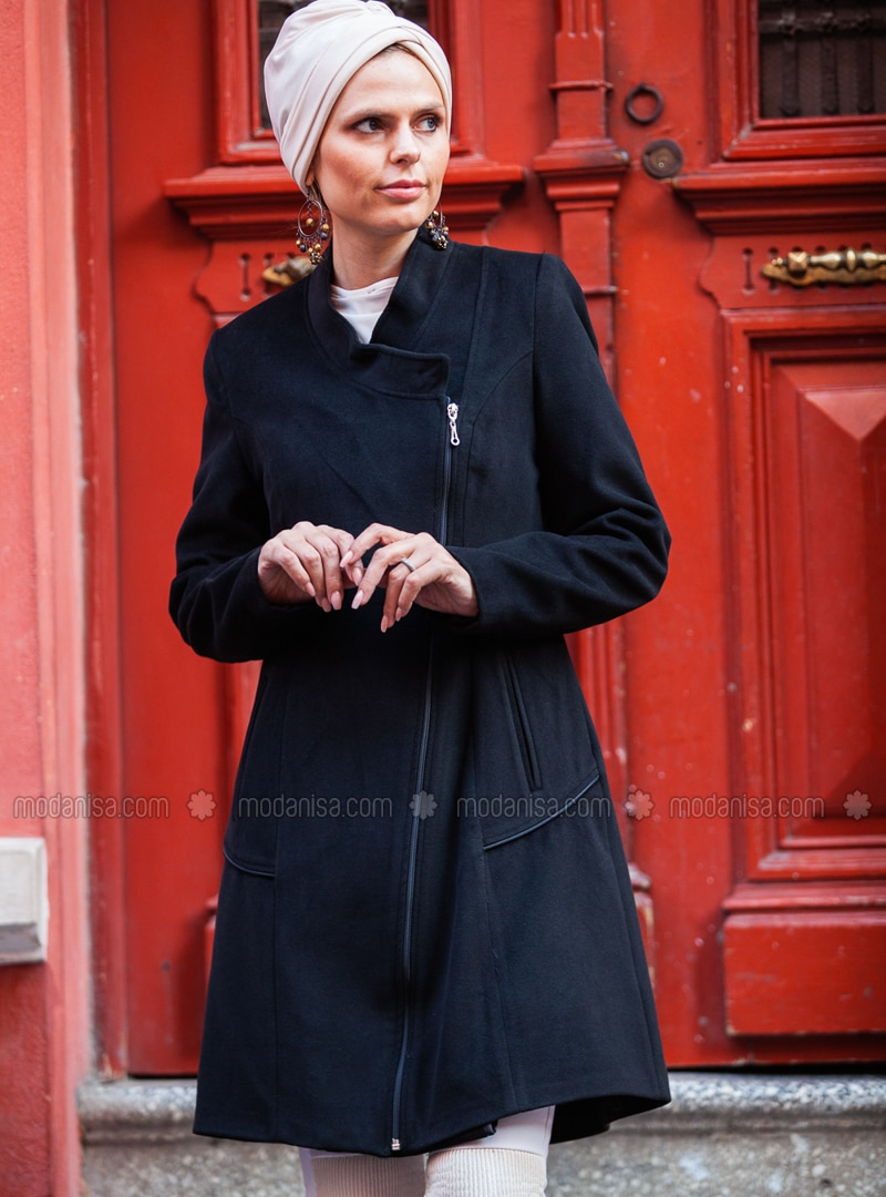 Black - Fully Lined - Crew neck - Wool Blend - Coat