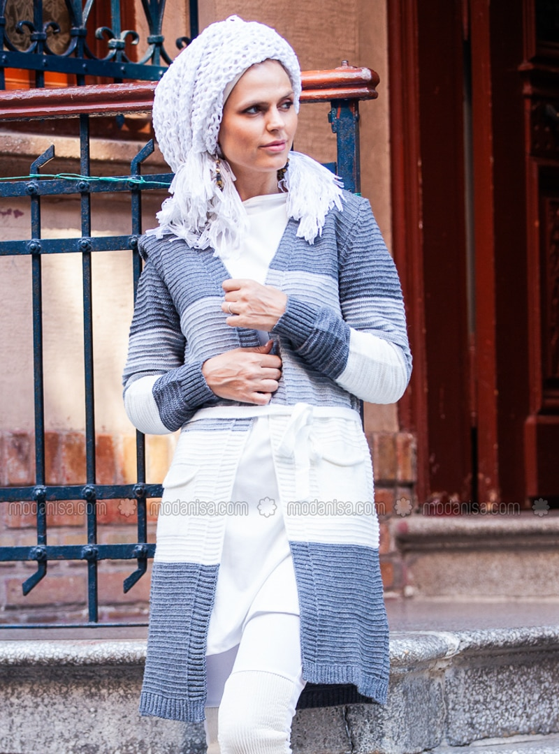 Gray - Acrylic -  - Wool Blend - Cardigan