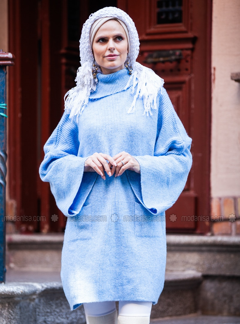 Blue - Polo neck - Acrylic -  - Tunic